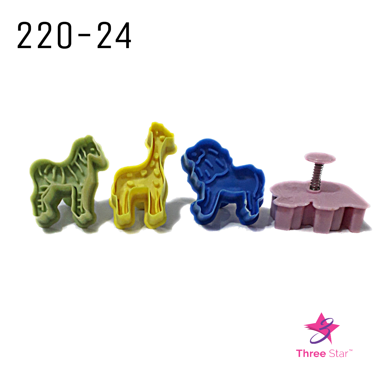 ZOO SAFARI ANIMAL PLUNGER CUTTERS 4 PCS